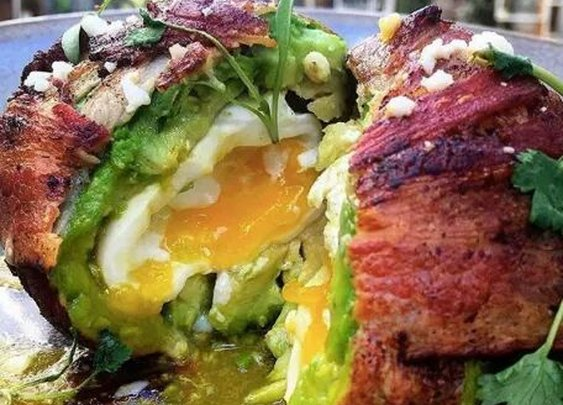 Egg Inside Avocado, Wrapped In Bacon