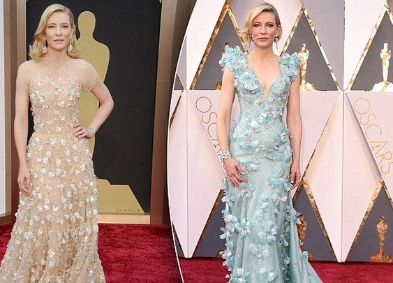Cate Blanchett stuns in a floral Armani Prive gown at the Oscars 2016 | Daily Mail Online