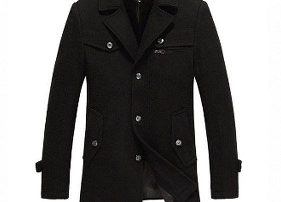 Men's Black Dual Collar Button Down Coat