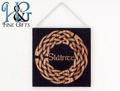 Slainte Celtic knot hanging wood burn display by HopeAndGracePens