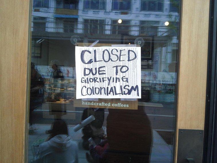 "Protesters Demand Saffron Colonial ""Stop Romanticizing Colonialism"""