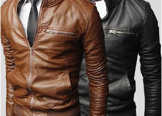 Mens Stand Up Collar Faux Leather Jacket