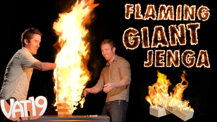 Playing a Giant Game of Flaming Jenga