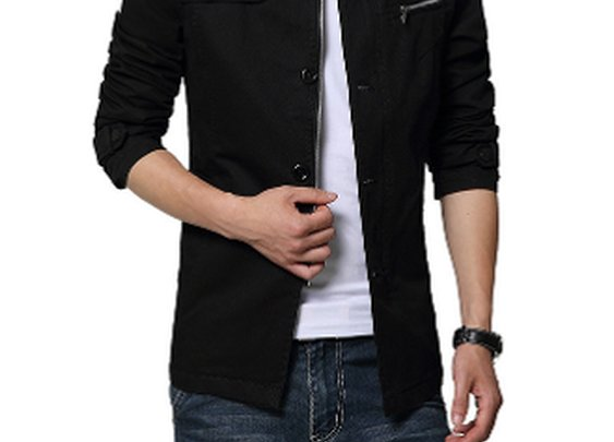 Mens Black Casual Zip Up Trench Coat