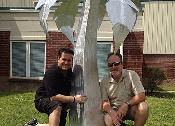 palm tree sculpture in brushed aluminum, outdoor palm tree and aluminum Palm trees