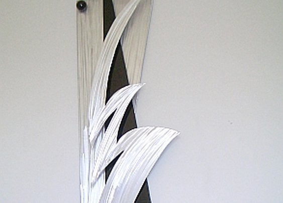 contemporary abstract wall art in brushed aluminum