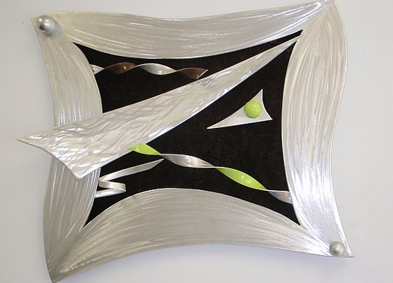 brushed aluminum wall art and wall sculptures in aluminum and metal