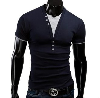Mens V-Neck Shirt with Button Details