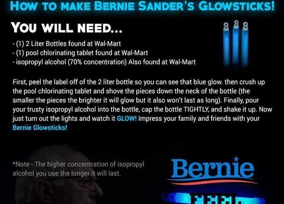 'Bernie Sanders Glowstick' Instructions Make Bombs, Not Glow Sticks : snopes.com