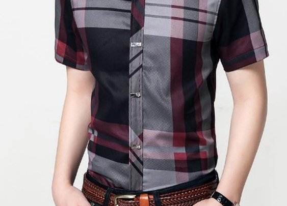 Men Short Sleeve Checkered Shirt –