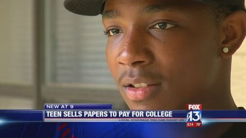 Teen sells newspapers for 5 years, earns enough to pay off college before he even starts