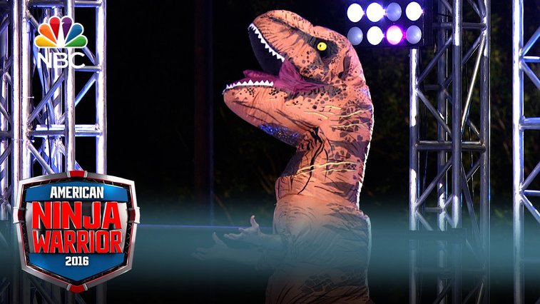 A Man Wearing a Tyrannosaurus Rex Costume Does Surprisingly Well on American Ninja Warrior