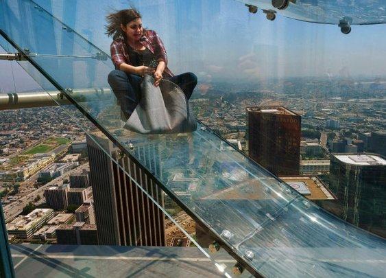 The Most Terrifying Glass Slide Ever Opens Atop LA Skyscraper