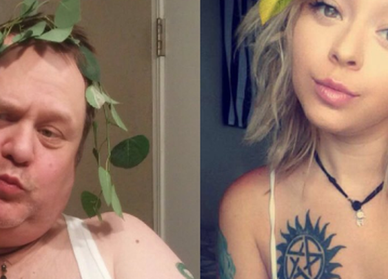 Dad does imitations of his daughter's selfies