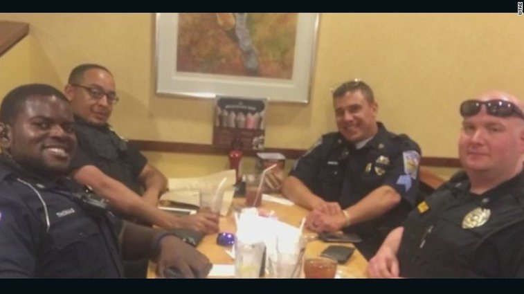 Officers Pick Up Bill For Diners Who Didn't Want To Sit Near Them