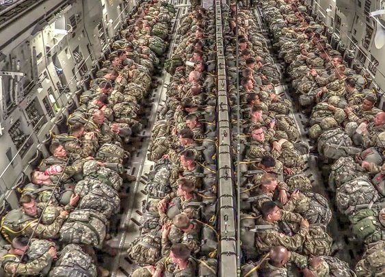 Paratroopers Static Line Jump From a Boeing C-17 Aircraft Over the Sicily Drop Zone at Fort Bragg