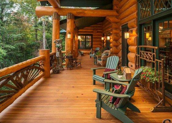 Log Home Porch   The Manly Club
