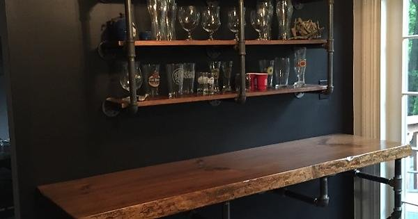 Diy Black Iron Pipe Bar Top And Shelves For Beer Storage