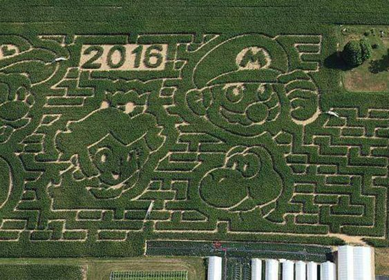 A Super Mario Bros. corn maze flattens the competition