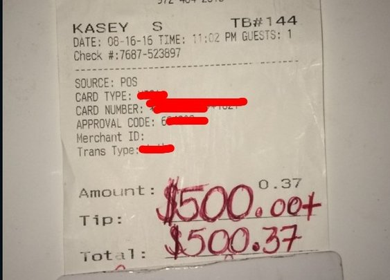 Waiter tipped $500 for act of kindess