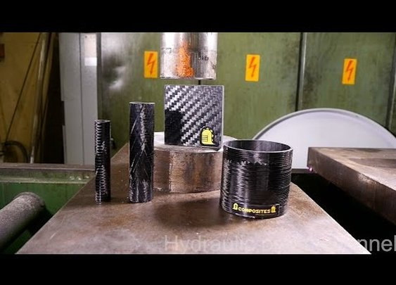 Crushing carbon fiber with hydraulic press - YouTube