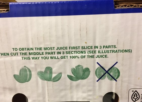 This box of limes recommends a different way of cutting fruit.