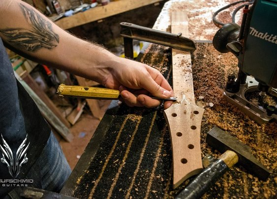 Time Lapse of Guitar Being Built By Hand
