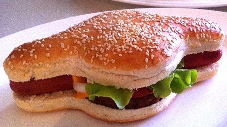 The Hamdog - a hotdog and burger combo