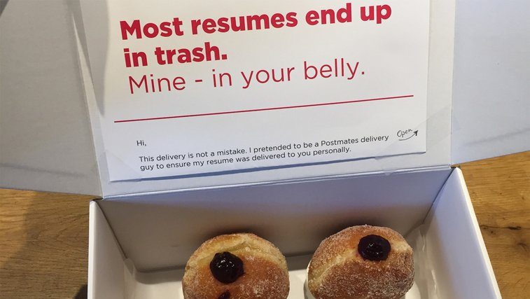Man hands in CV to employers disguised as doughnut delivery
