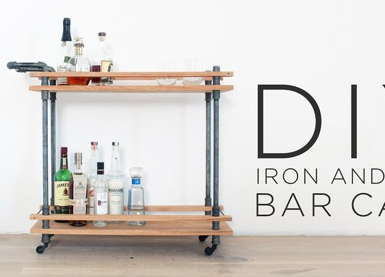 DIY Bar Cart | How to make a drink cart with iron pipes