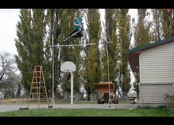 World Record: Guy Clears 11 Feet On a Pogo Stick