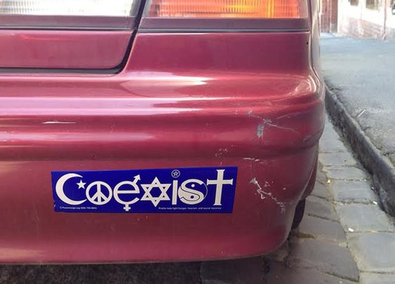 """Massive Recall Issued for Ineffective """"COEXIST"""" Bumper Stickers"""