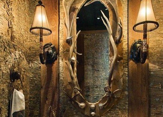Rustic Bathroom with Antler Mirror