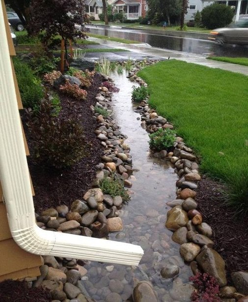 Lawn Project: 'Dry Creek Bed' after a storm