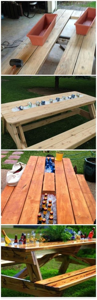 Genius: Replace Board of Picnic Table with Rain Gutter