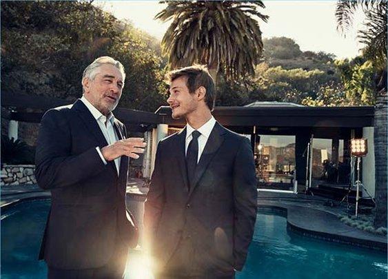 McCaul Lombardi and Robert De Niro star in Ermenegildo Zegna's Defining Moments campaign.