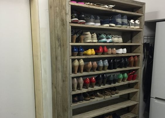 Huge Shoe Rack Made Out of Old Pallets