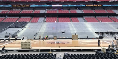 Transforming a Football Stadium Into a Final Four Court