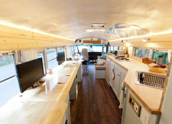 Adventure Seekers Hit the Road in a DIY School Bus Home