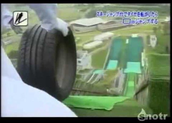 Tire ski jump.