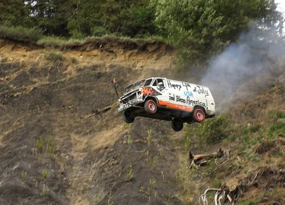 Alaskan Town Celebrates the Fourth of July by Launching Vehicles Off of a Cliff