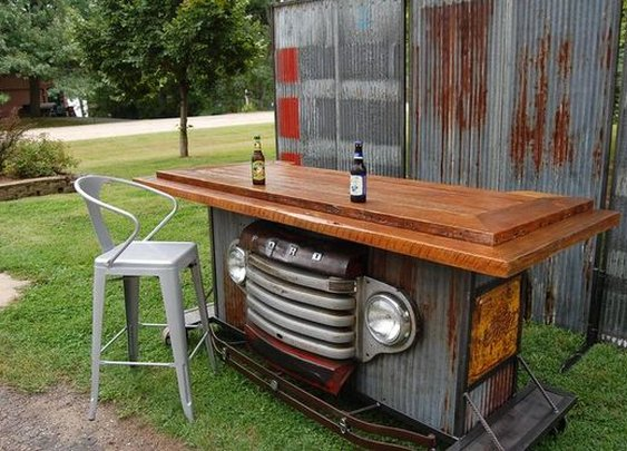 Bar Made from Ford Truck and Reclaimed Wood