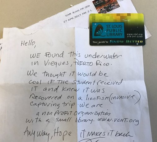 St. Louis Public Library Card Found Underwater in Puerto Rico
