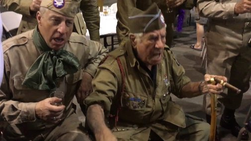"""WWII Vet Vince """"Nuts!"""" Speranza singing with WWII ADT Class"""