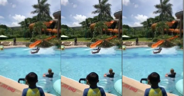 The internet just can't comprehend this mind-blowing waterslide move