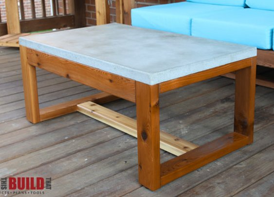 DIY Concrete Top Outdoor Coffee Table