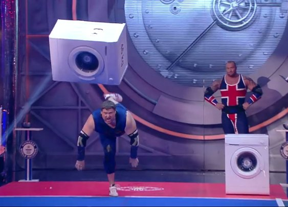 Game of Thrones' Hafthor Bjornsson Competes in a Washing Machine Throwing Contest