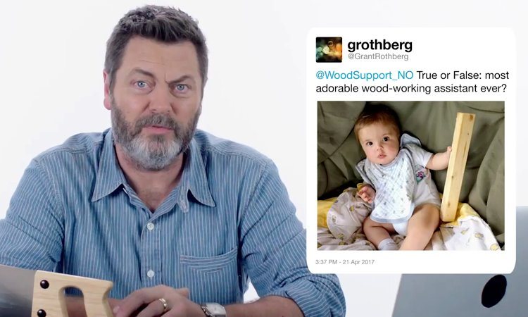 Nick Offerman Answers Common Woodworking Questions Asked by People on Twitter