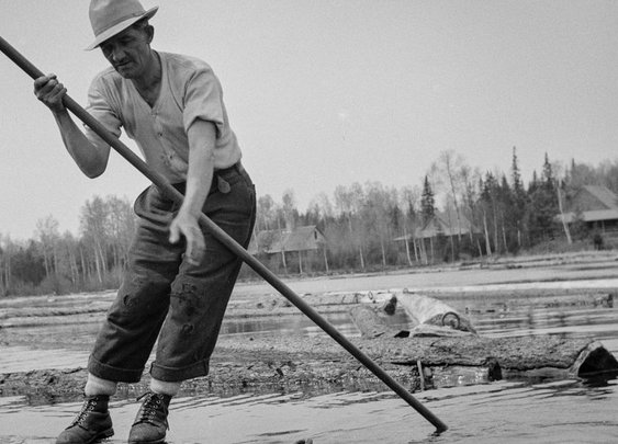 Gritty 1943 photos record Maine woodsmen on a dangerous spring lumber drive