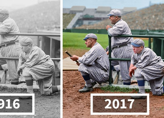 I Restored And Colorized Century-Old Photos From Major League Baseball | Bored Panda